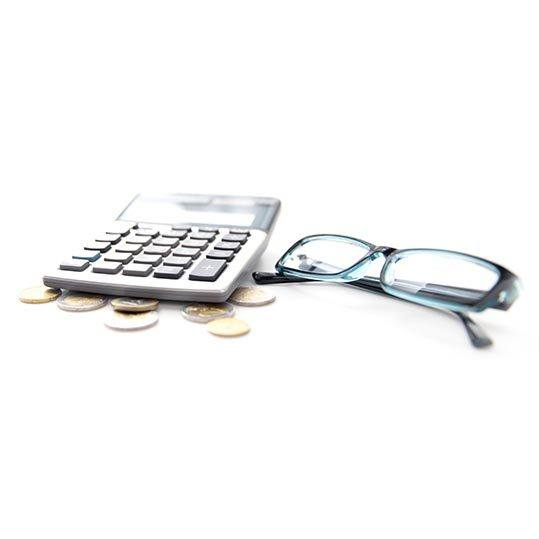 Glasses, Calculator, and Coins
