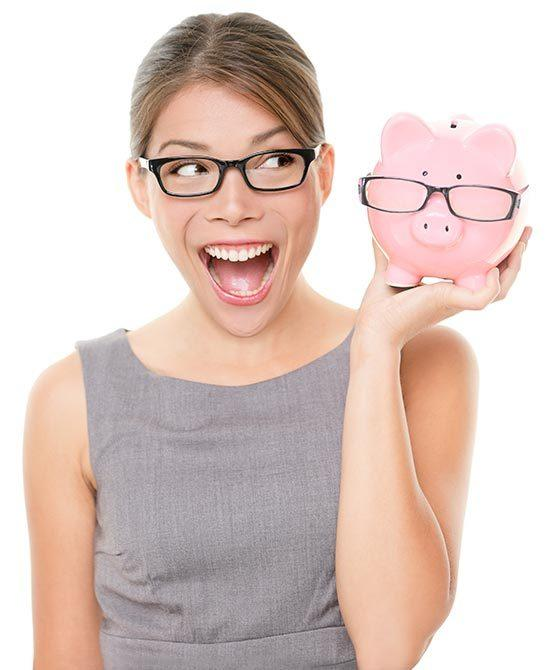 Woman with Glasses and Piggy Bank with Glasses